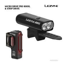 Lezyne MICRO DRIVE PRO 800XL & STRIP DRIVE LED Headlight Tail Light Pair : BLACK