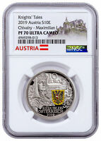 2019 Austria Knight's Tales Chivalry 1/2 oz Silver €10 Coin NGC PF70 UC SKU58034