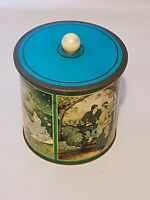 VINTAGE BISCUIT BARREL TIN WITH SUCTION LID - LOVERS THEME
