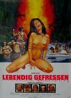 LEBENDIG GEFRESSEN (I 1980) - Orig.KinoPlakat A1 -Mangiati Vivi- gerollt HORROR