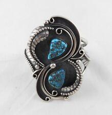 Vintage Signed Navajo F&D Charley Shadow Box Turquoise Nugget Cuff Bracelet