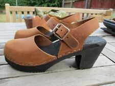 New - Lotta from Stockholm Highwood Brown Oiled Nubuck Leather Clogs - Size 37