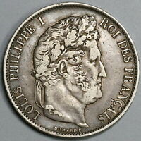 1844-BB France 5 Francs XF Louis Philippe I Silver Strasbourg Coin (19102505R)