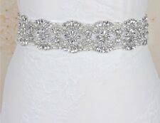 Gorgeous Bridal Wedding Dress Crystal Pearl Encrusted Sash Off White Ribbon Belt