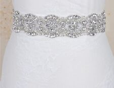 Gorgeous Bridal Wedding Dress Crystal Pearl Encrusted Sash White Belt