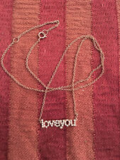 """SUGAR BEAN JEWELRY """"loveyou"""" Necklace, rose gold sterling silver + CZ"""