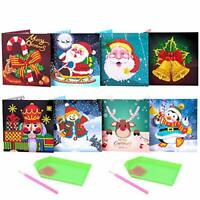 8 Pcs Christmas Cards 5D Diamond Painting Christmas Greeting Cards Creative