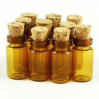 100Pcs 1ml (11x22mm) Small Empty Glass Bottle Vial with Cork Brown