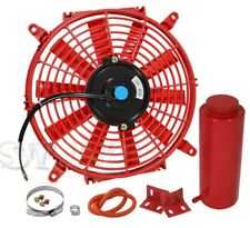 "1X 9"" Slim/Thin 12V Push/Pull Electric Radiator/Cooling Fan Red+Coolant Tank"