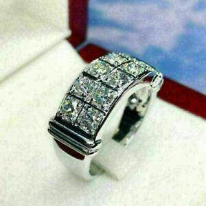 14K White Gold Delicated Men's Engagement Half Eternity Band 4.3CT VVS1 Diamond