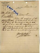 1901 Letterhead OCKER TEXAS Joseph Robert SCHILLER & MARESH Czech GHOST TOWN