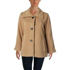 NWT JM Collection Suede Tan Peacoat Pea Coat Button-Front Jacket Lined PP $99.50