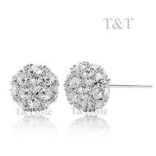 Ball Stud Earrings (Ed65) T&T Clear Cz 11mm