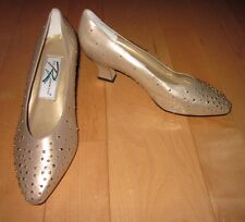 New Ros Hommerson Womens Gold Leather Heels 7.5 W