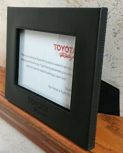 """Toyota Racing Picture Frame RARE Black Leather 6-1/2"""" x 4-1/2"""" Inner Photo Size"""