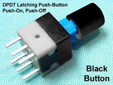 6 Miniature Dpdt Push Button Switch Latching Push On Push Off Black Caps