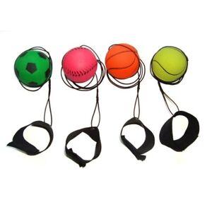 4 Return Rubber Sport Exercise Ball on Nylon String w/ Wrist Band Random Color