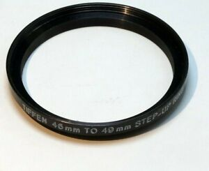 Tiffen 46mm to 49mm Step-up ring Metal adapter  double threaded made in USA