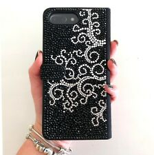 Black White Swirl Made with Swarovski Crystals Bling Wallet Case iPhone 7/8 Plus