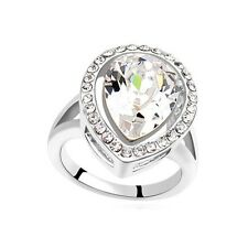 VINTAGE INSPIRED LARGE 18K WHITE GOLD PLATED GENUINE CZ & AUSTRIAN CRYSTAL RING