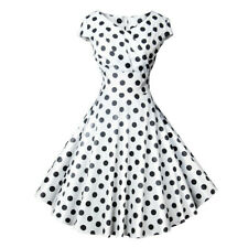 Women Vintage Short Sleeve V Neck Printing Dot Evening Party Prom Swing DressCA