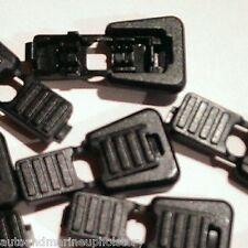 (10) Black Plastic Zipper Pulls Cord Lock Ends Paracord Tactical Tab Repair  #12