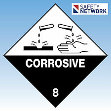 Corrosive 8  Sign Safety Polypropylene  Dangerous Goods Placard Chemical Spill