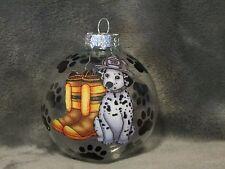 "Hand Made Dalmatian Fire House Firefighter Dog 3"" Glass Christmas Ornament/Ball"