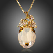 Made with Sparkly Gold Brown Swarovski Crystal Leaves Chain Necklace Pendant