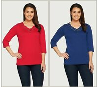 Quacker Factory 2 Eyelet Scalloped 3/4 Sleeve T-shirts (Red/Blue, XS) A297272