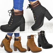 Womens Ladies Winter Walking Boots Fleece Warm Lining Cosy Low Block Heel Size