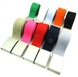 """Unisex Quality Cotton Canvas Fabric Plain Webbing Belt Silver Buckle Up To 52"""""""