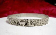 """Vintage Silver Plated Astrology Zodiac Symbols Bangle Bracelet 9"""""""