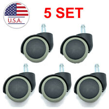 2 Inch Floor Protecting Rubber Office Chair Caster Wheels (Set of 5) Standard