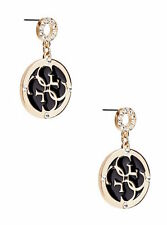 NWT Guess Gold-tone & Black Enamel Rhinestones Dangling Drop Earrings
