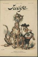 Prepare to Deliver Threat Tammany Tiger 1892 antique color lithograph print