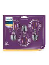 Philiips LED 2 x 3 pack GLS warm white 4.3w=40w 470lm non dimmable E27/ES
