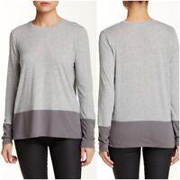 Vince Women's Gray Long Sleeve Colorblock Scoop Neck Tee Medium