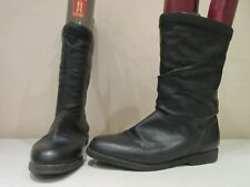 CLARKS BLACK LEATHER LONG PULL ON BOOTS UK 7 (3367)