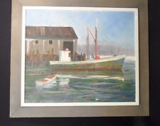 Beautiful vintage Oil Painting*Boat At The Dock*Mounted Canvas Signed Malee '65
