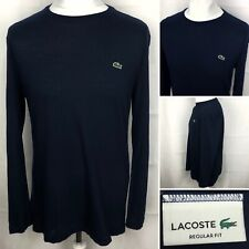 LACOSTE Regular Fit Long Sleeve T Shirt Size Large (5) In Navy Blue Men's Top