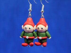 Fun Handmade Fimo Elf Earrings Christmas Gift Cute Stocking Filler Festive Funny