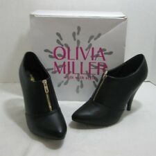 Olivia Miller Vesey Women's Zip-Front High Heels Ankle Boots Black Size 9 New