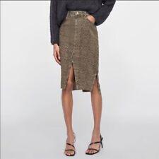 New Zara denim Leopard skirt