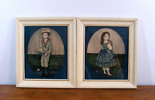 Vtg Framed Prints Boy and Girl By Early American Pictures AAron Bros Co