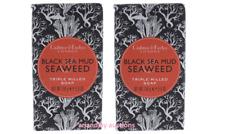 Lot of 2 New Crabtree & Evelyn Black Sea Mud Seaweed Triple Milled Soap 5.6 oz