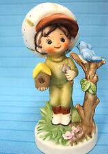 Lefton China Handpainted Figurine Country Big Hat Boy Blue Birdhouse #7988