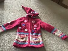 EUC Kids Girls Peru Lama Wool Hooded Zipper Jacket 7-8