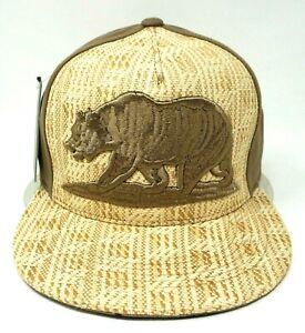 Cali Bear Snapback Cap Straw Woven Hat CA California Republic OSFM NWT