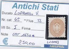 ANTICHI STATI - LOMBARDO VENETO - LV0063 - NR. 45 TL - CATALOGO 1650€